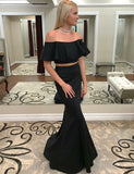 Two Piece Off the Shoulder Black Mermaid Prom Dress