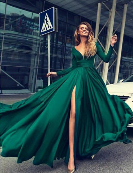 A-Line Deep Vneck Long Sleeves Sweep Train Dark Green Split Prom Dress