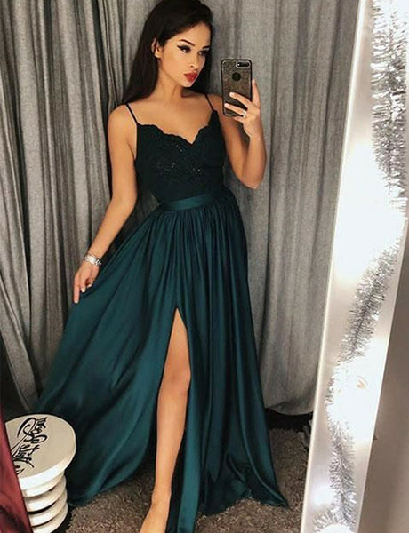 ac3756edd166 A-Line Spaghetti Straps Dark Green Appliqued Split Long Prom Dress