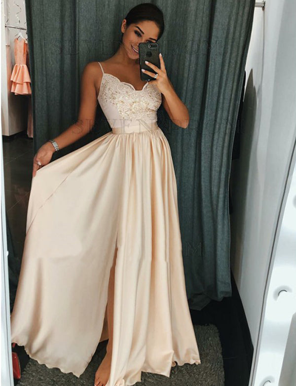 A-Line Spaghetti Straps Ivory Long Prom Dress with Appliques Split - ericprom