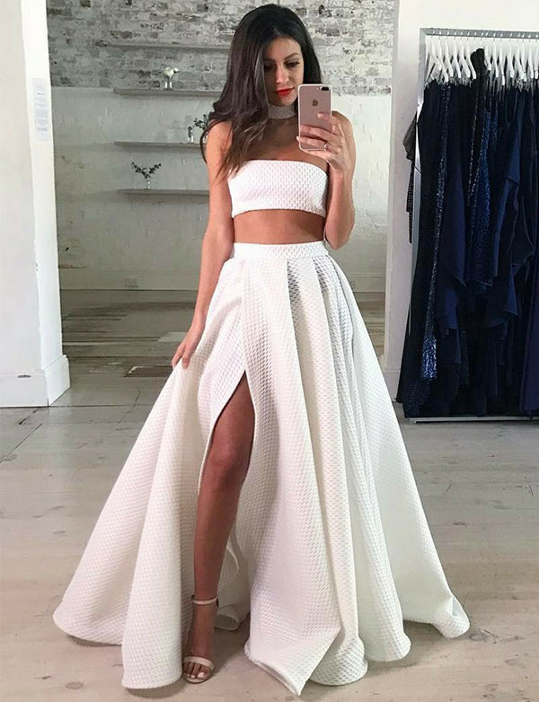 Two Piece Strapless Floor-Length White Prom Dress with Split - ericprom