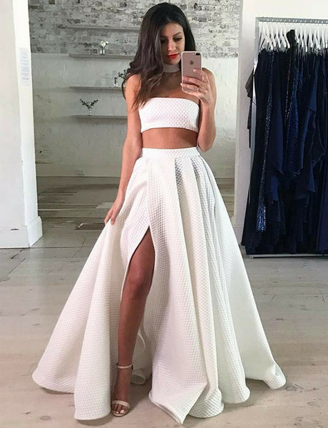 Two Piece Strapless Floor-Length White Prom Dress with Split