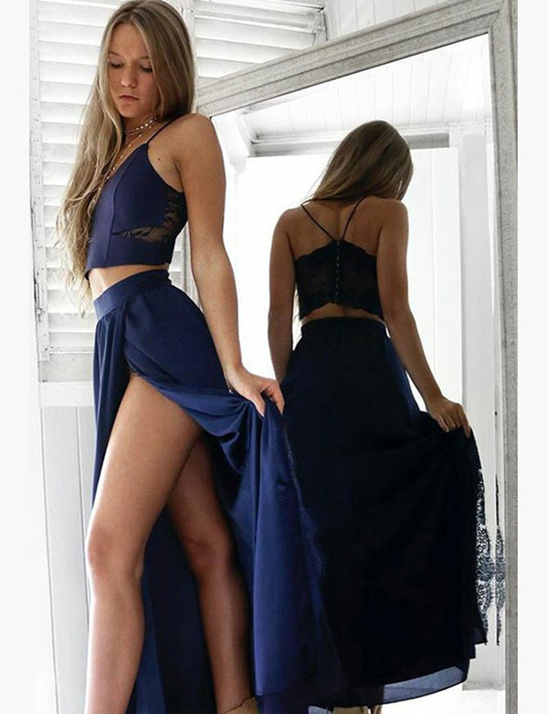 Two Piece Spaghetti Straps Dark Blue Chiffon Long Prom Dress with Lace Split - ericprom
