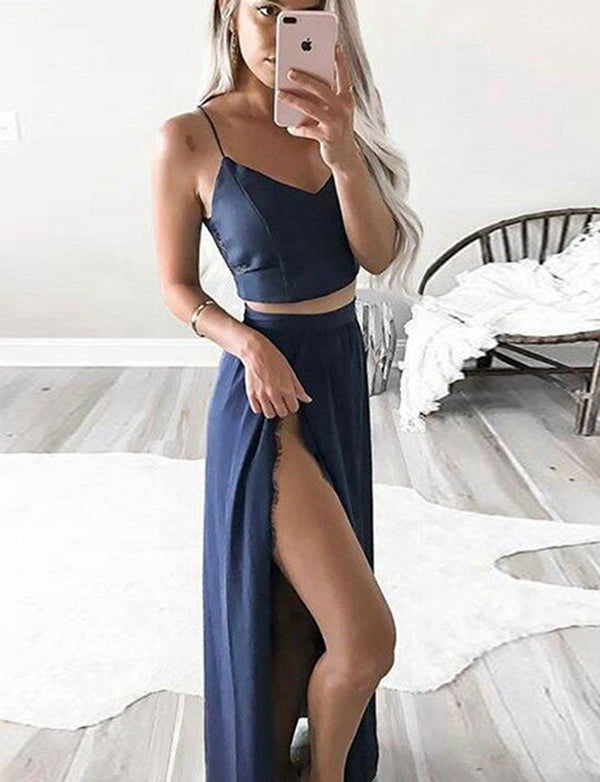 Two Piece Spaghetti Straps Dark Blue Chiffon Long Prom Dress with Lace Split