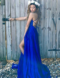 A-Line Spaghetti Straps Lace Up Royal Blue Long Prom Dress with Split - ericprom