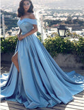 A-Line Off the Shoulder Court Train Blue Prom Dress with Split Pockets