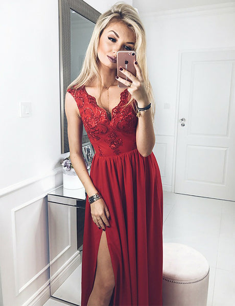 A-Line Vneck Floor Length Red Prom Dress with Appliques Split