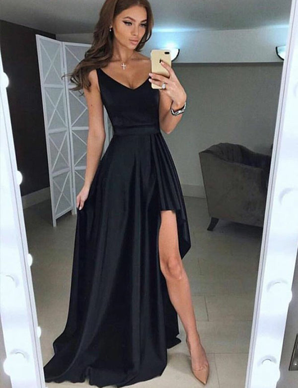A-Line Vneck Sweep Train Black Satin Prom Dress with Split - ericprom