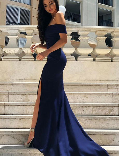 Mermaid Off the Shoulder Sweep Train Navy Blue Prom Dress with Split