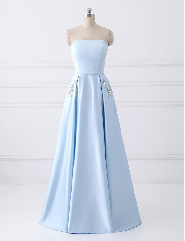 A Line Strapless Long Dress With Pockets - ericprom