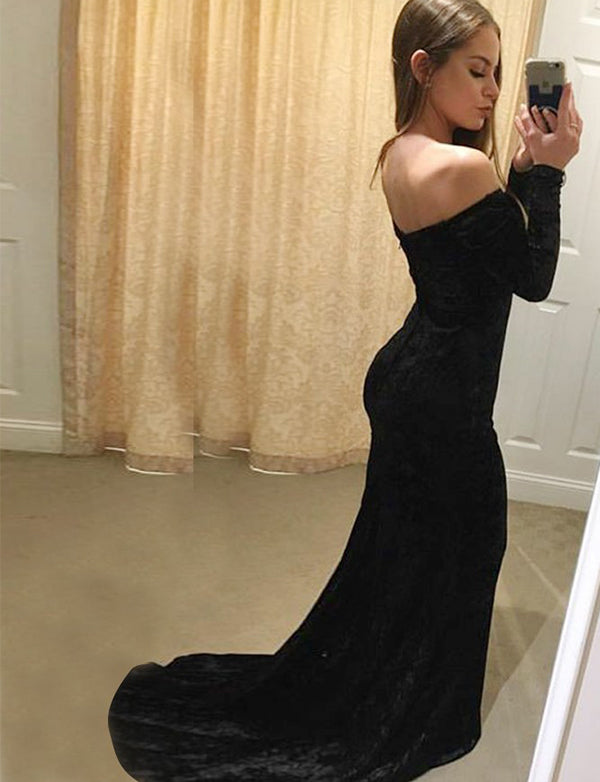 Mermaid Off the Shoulder Long Sleeves Black Velvet Long Prom Dress - ericprom