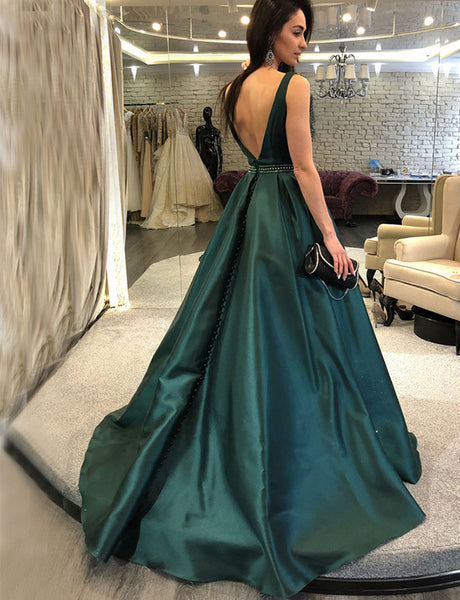 A-Line Bateau Backless Sweep Train Dark Green Beaded Prom Evening Dress