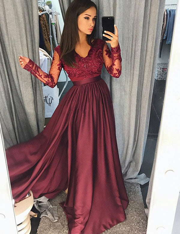 A-Line Vneck Long Sleeves Split Appliqued Burgundy Long Prom Dress - ericprom