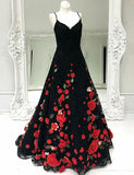 A-Line Spaghetti Straps Sweep Train Black Prom Dress with Flowers - ericprom