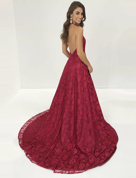 A-Line Halter Backless Sweep Train Burgundy Lace Prom Dress with Split