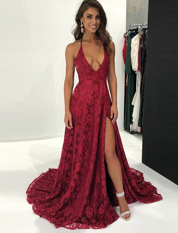 A-Line Halter Backless Sweep Train Burgundy Lace Prom Dress with Split - ericprom