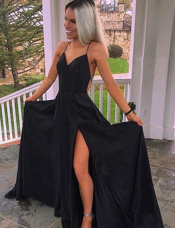 A-Line Spaghetti Straps Backless Sweep Train Black Prom Dress with Split - ericprom