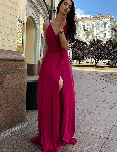 A-Line Spaghetti Straps Floor Length Fuchsia Prom Dress with Split