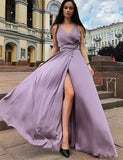 A-Line Spaghetti Straps Floor Length Fuchsia Prom Dress with Split - ericprom