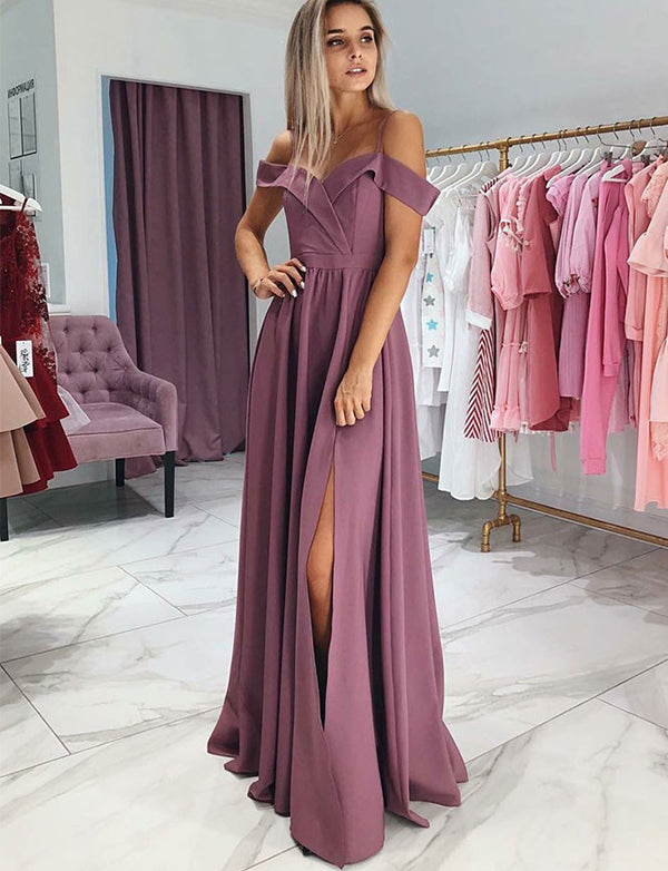 A-Line Spaghetti Straps Floor Length Purple Satin Prom Dress with Split - ericprom