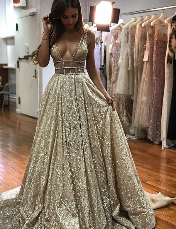A-Line Deep Vneck Sweep Train Light Champagne Prom Dress with Sequins - ericprom