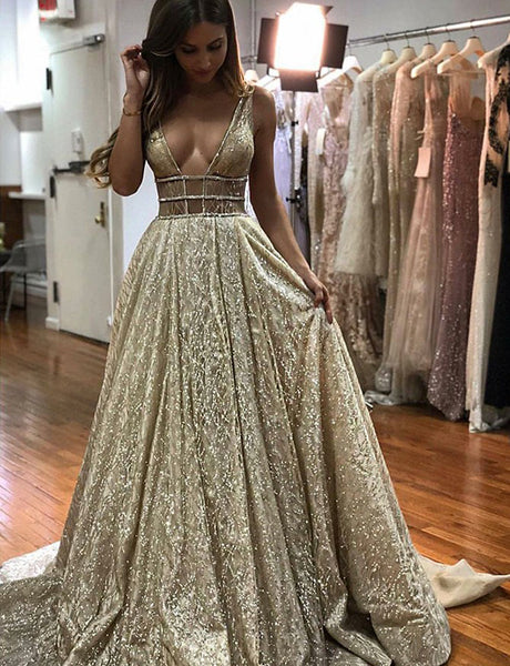 A-Line Deep Vneck Sweep Train Light Champagne Prom Dress with Sequins