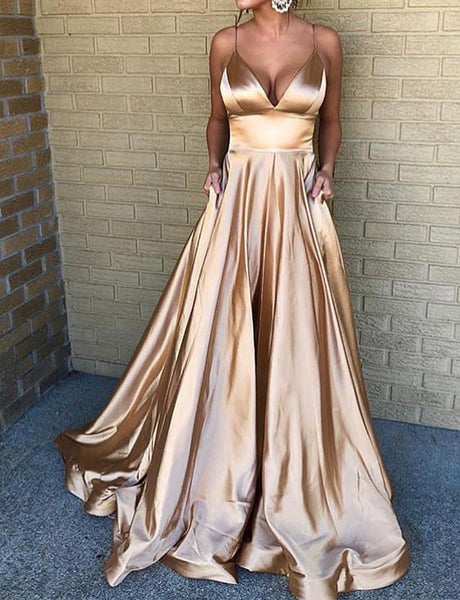 A-Line Spaghetti Straps Sweep Train Champagne Prom Dress with Pockets