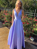 A-Line Vneck Floor Length Lavender Satin Prom Dress with Pockets - ericprom