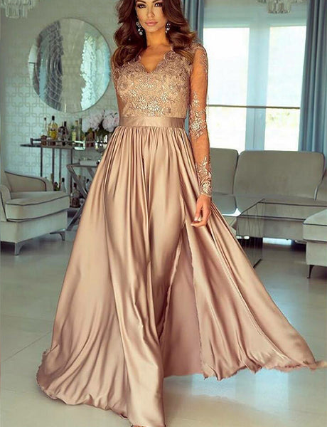 A-Line Vneck Long Sleeves Champagne Appliqued Split Long Prom Dress