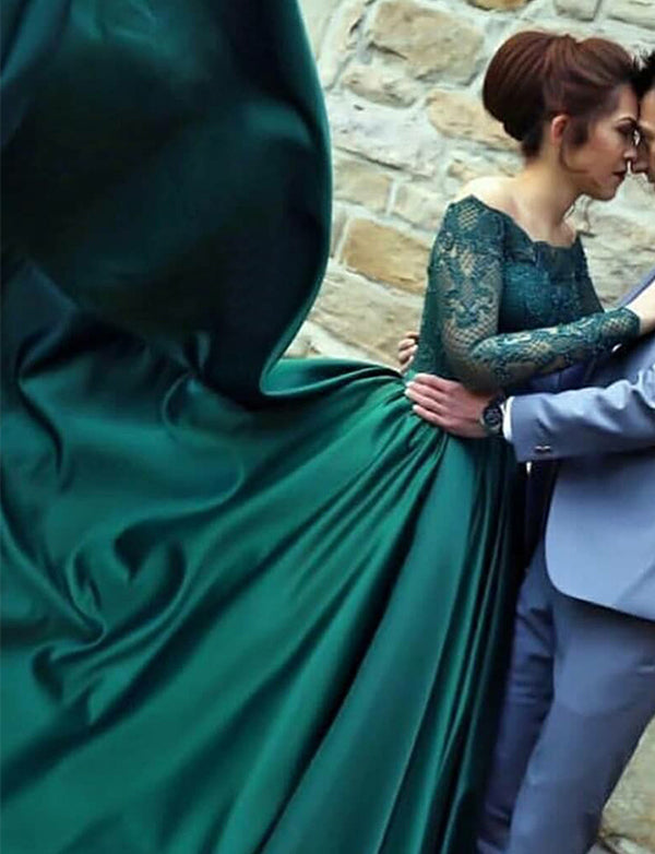 A-Line Off the Shoulder Long Sleeves Dark Green Long Prom Dress with Lace - ericprom
