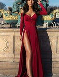 A-Line Off the Shoulder Long Sleeves Burgundy Split Long Prom Dress - ericprom