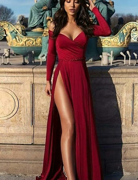 A-Line Off the Shoulder Long Sleeves Burgundy Split Long Prom Dress