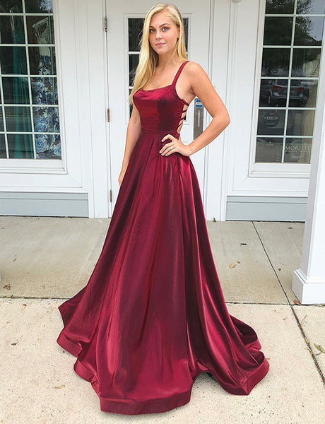 A-Line Square Open Back Sweep Train Burgundy Prom Dress with Pockets