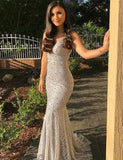 Mermaid Spaghetti Straps Evening Dress with Beading Long Silver Prom Gown