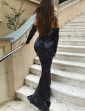 Off-the-Shoulder Mermaid Prom Dress with Sequin Navy Blue Evening Gown - ericprom