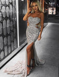 Charming Mermaid Sweetheart Backless Silver Prom Dress with Split Beading - ericprom