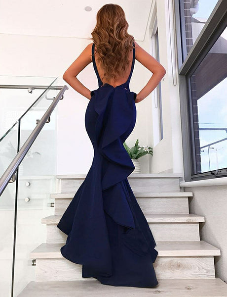 V-Neck Evening Gown Navy Blue Prom Dress with Ruffles