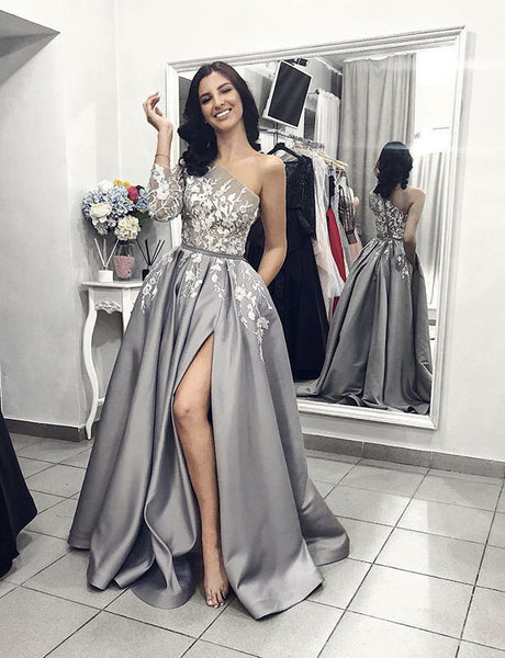 Perfect One Shoulder Long Grey Evening Dress with Split Appliques Prom Dress