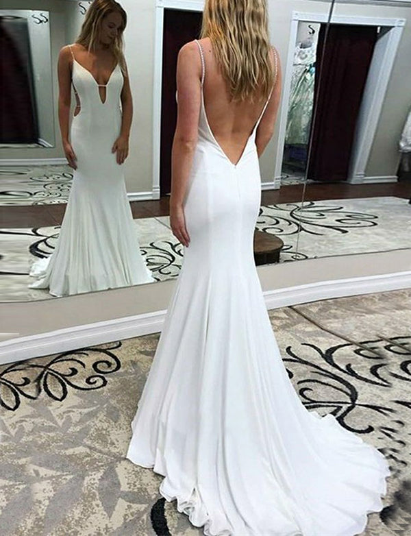 Beautiful Simple Mermaid Spaghetti Straps Backless Long White Prom Dress - ericprom