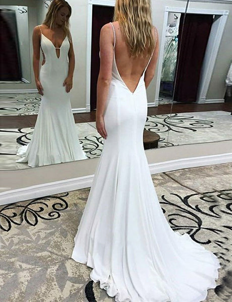 Beautiful Simple Mermaid Spaghetti Straps Backless Long White Prom Dress