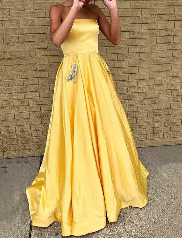 473a2ff3b53 Modest Strapless Satin Yellow Prom Dress with Beading Long Eevening Gown