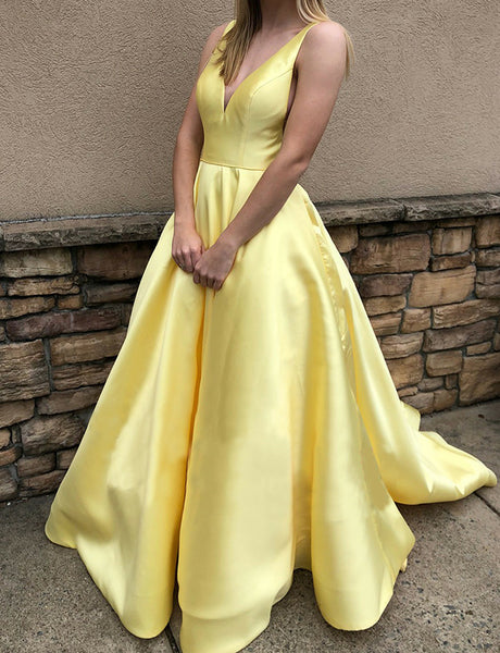 Simple V-Neck Long Evening Dress with Pockets Satin Sleeveless Yellow Prom Dress
