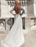 Bateau Long Sleeves Silver Evening Dress with Beading Backless Prom Dress - ericprom