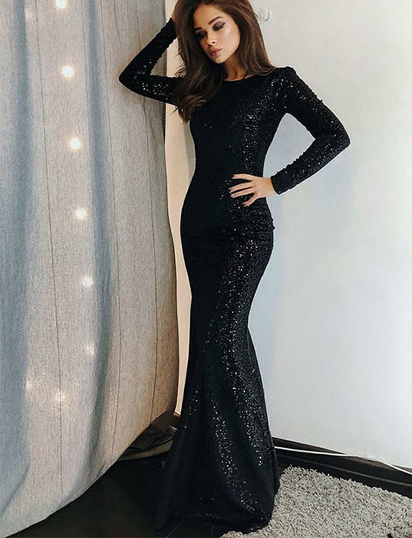 Stunning Long Sleeves Mermaid Evening Dress with Sequin Black Prom Dress - ericprom