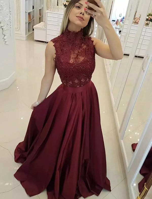 Top High Neck Long Burgundy Prom Dress with Appliques Beading Evenig Gown - ericprom