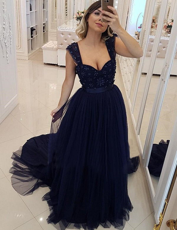 855295900d5 Charming Straps Tulle Navy Blue Prom Dress with Beading Long Evening Dress