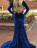 Fashion Mermaid Open Back Long Evening Dress with Split Royal Blue Prom Dress - ericprom