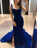 Straps Backless Long Royal Blue Prom Dress with Split Mermaid Evening Dress - ericprom