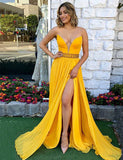 V-Neck Long Prom Dress with Beading Split Yellow Evening Gown - ericprom