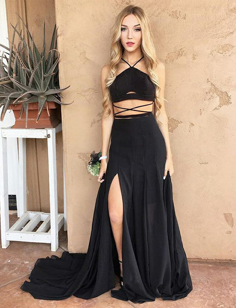 Popular Two Piece Halter Long Criss-Cross Straps Black Prom Dress with Split